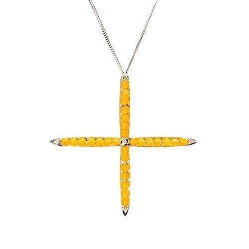 Yellow jade cross necklace by Majade. Jadeite jewelry, Chinese jade Nephrite pendant. Handmade 925 yellow jade & diamond sterling silver cross necklace. Unique decorative yellow stone jeweled cross.