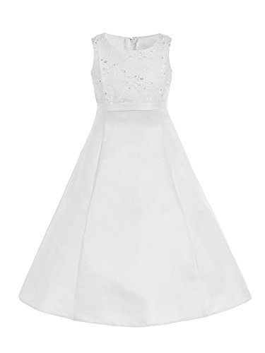 Bello Giovane High Waist A Line Embroidered Satin Girl Communion Dress (6, White) - Embroidered Bodice A-line Satin