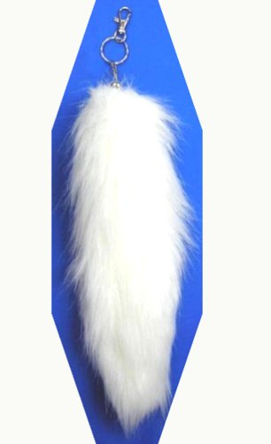 Faux Chains (One Piece of the White Faux Fox Tail Fur Key Chain)
