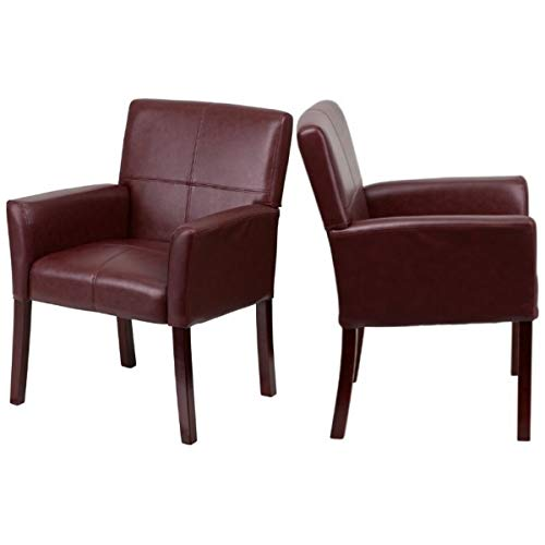 Contemporary Design Executive Reception Accent Chair Durable LeatherSoft Upholstered Seat Solid Mahogany Finished Wood Legs Home Office Dining Room Furniture - Set of 2 Burgundy #2223