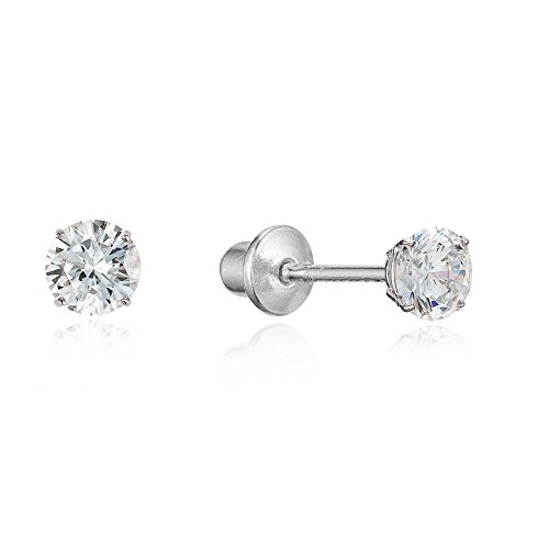 925 Sterling Silver Rhodium Plated 3mm Cubic Zirconia Stud Children Screwback Baby Girls Earrings - Childrens 3mm Gold Earrings