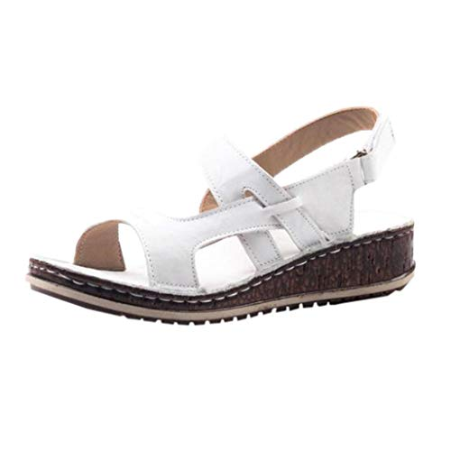 COOlCCI_2019 New Womens Casual Espadrilles Trim Rubber Sole Flatform Buckle Ankle Strap Open Toe Sandal Heeled Sandals White