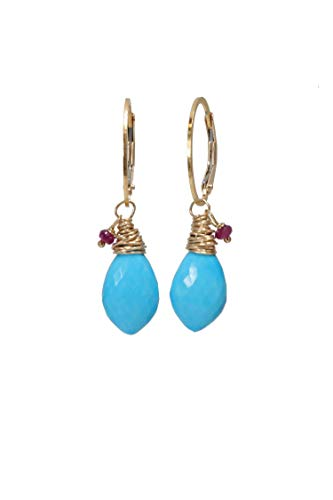 (Turquoise Gemstone Marquise Drop Earring- Ruby- 14k Gold Filled- 1.4
