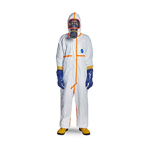 DuPont Tyvek 800 TJ198T CE-Certified Cat-III Type-3/4/5/6 Chemical Protective Coverall Suit with Sealed Bag, White, 2X-Large