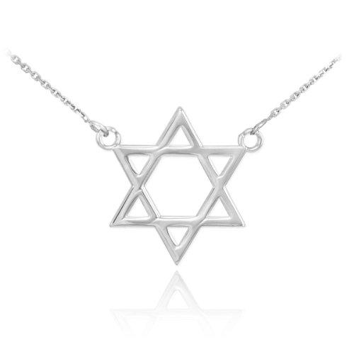 High Polish Solid Gold Jewish Star of David Charm Necklace (white-gold, 18 - Necklace Star Of Solid David