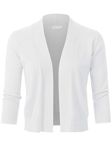 (JSCEND Womens Classic 3/4 Sleeve Open Front Cropped Bolero Cardigan White)