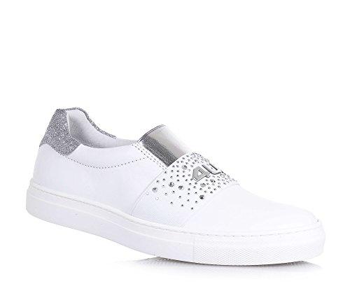 4US CESARE PACIOTTI - Chaussure blanche en cuir, pièce élastique, pièce argentée à l'arrière en glitter, fille, filles, femme, femmes