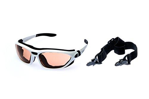 Alpland Lunettes de Montagne Glacier Lunettes pour Sports de Ski Kitesurf de Cyclisme avec Bande et Sangle Interchangeable–Verre–Contraste amélioré INKL. Softbag
