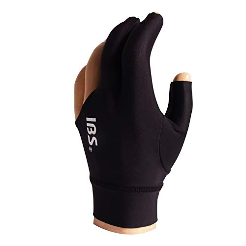 - IBS Breathable Smooth FITS Carom Billiard Pool Cue Glove Professional Course Training Anti-Slip Accessories for All Skill Level Right Handed Players (Left Bridge Hand) - Black
