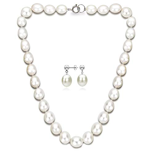 Sterling Silver 7-7.5mm White Freshwater Cultured Pearl Necklace and Stud Dangle Earrings Set