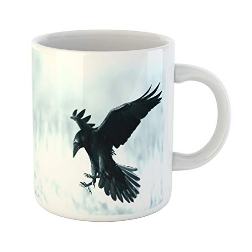 Semtomn Funny Coffee Mug Bird Black Raven Corvus Corax Landing in Moonlight Scary 11 Oz Ceramic Coffee Mugs Tea Cup Best Gift Or Souvenir -