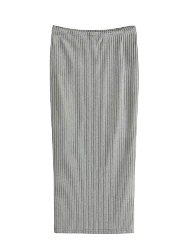(SheIn Women's Basic Plain Stretchy Ribbed Knit Split Full Length Skirt Light Grey Medium )