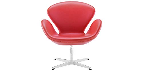 Chairs Designer Italian Office - ARTIS DÉCOR Float Chair - Premium Top Grain Italian Leather Aluminium Base Fiberglass Shell - Red