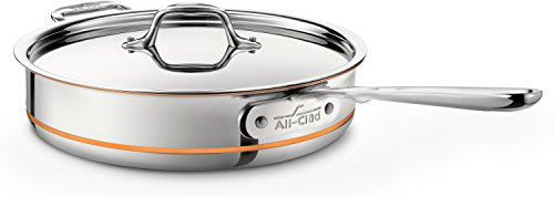 All-Clad 6403 SS Copper Core 5-Ply Bonded Dishwasher Safe Saute Pan with Lid/Cookware,  3-Quart, Silver