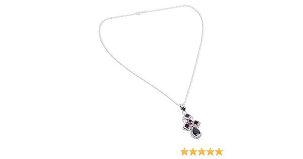 NOVICA Garnet .925 Sterling Silver Pendant Necklace Crimson Fern 15.75
