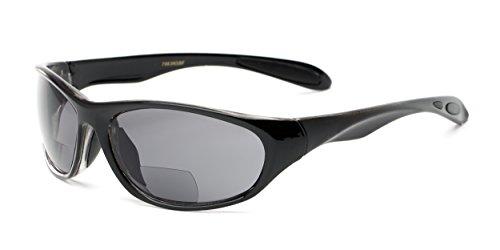 Readers.com The Zeek Bifocal Sun Reader +2.75 Glossy Black with Smoke Men's Sporty Bifocal Sunglasses Sport & Wrap-Around Reading - Around Reading Wrap Sunglasses
