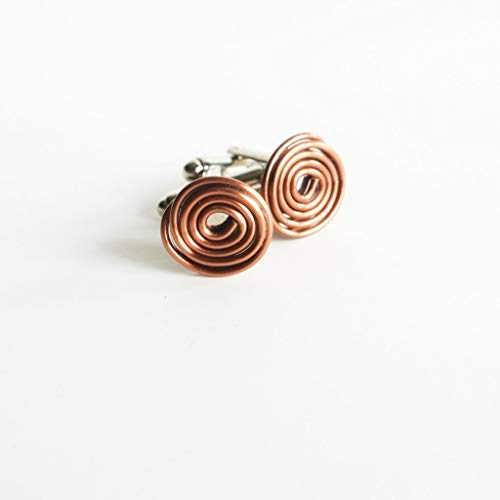 The Pink Locket Geometric Floating Silver Copper Cuff links - For Men - Cufflinks by The Pink Locket