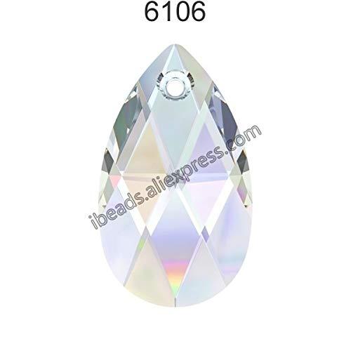 (Pukido (1 Piece) 100% Original Crystal from Swarovski 6106 Pear-Shaped Pendant from Austria Loose Beads Rhinestone DIY Jewelry Making - (Color: Crystal 001 AB, Item Diameter: 38mm))
