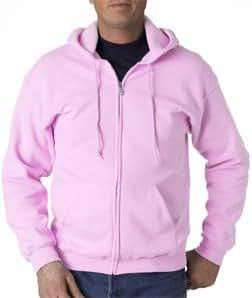 Adult Full-Zip Hooded Sweatshirt, Color: Light Pink, Size: XX ...