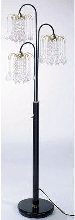 Floor Lamp with 3 Crystal-Like Shades in Black (3 Lamp Crystal)
