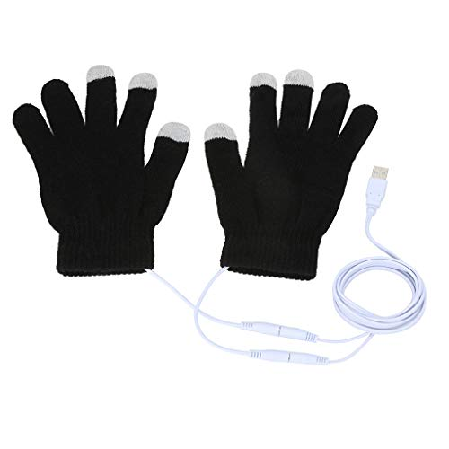 Kalsmtore USB Heated Winter Warm Gloves Knit Heating Telephone Touchscreen Texting Driving Hand Warmer Mitten Black