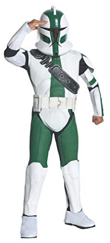 Green Clone - Rubies Star Wars Clone Wars Child's Deluxe Commander Gree Costume and Mask, Large