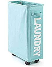 Benkeg Rolling Slim Laundry Basket with Universal Wheels Corner Foldable Dirty Clothes Organizer with 4 Support Rods