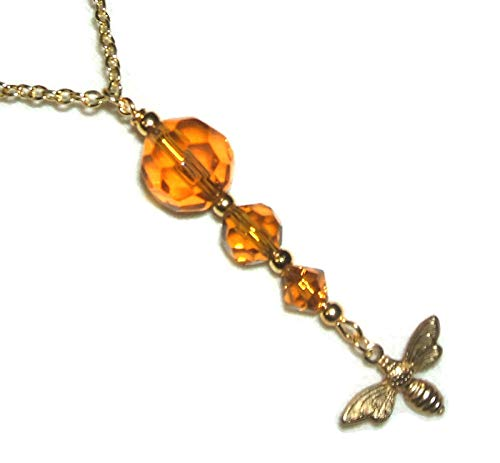 BEE Line NECKLACE Honey Amber GLASS CRYSTAL DROP Gold Pltd Pendant SAVE THE BEES Nature Inspired Classic
