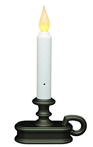 Battery Operated LED Dusk to Dawn Light Sensor Window Candle with Aged Bronze Base Flicker and Full On Setting