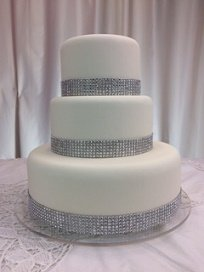 Amazon.com | Fake Cake Wedding Cake real Fondant with Bling by ...