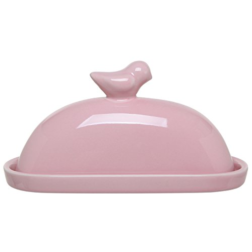 MyGift Pink Bird Design Decorative Ceramic Butter Dish + Lid Cover (Large Image)