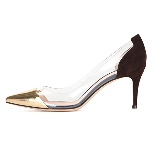 EDEFS Party Pumps Kitten Transparent Schuhe Rutsch Golden Hochzeit Heel Damenschuhe Mid Heels rarqO4w