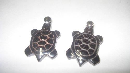 2pc Hematite Turtle Natural Crystal Healing Gemstone Pendants with Pre Looped (Kyanite Moonstone Necklace)