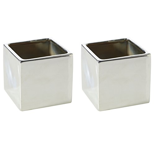 Silver Square Ceramic Planter - Set of 2 - 3.25 x 3.25 Inches - Urban Metallic Style Cube Vase - Small Shiny Modern Planter for Home or Office - Succulent Pot or Supply Jar (Accents Ceramic Vase)