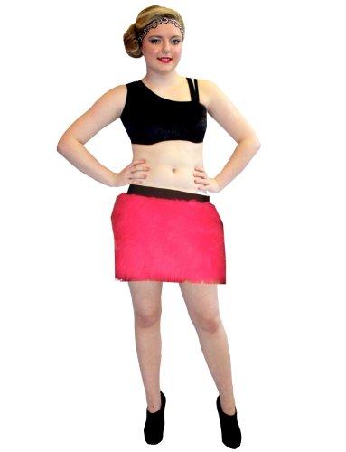 Furry Skirt (Neon Pink Fluorescent Fluffy Furry Skirt Hen Night Party Fancy Dress (S/M))