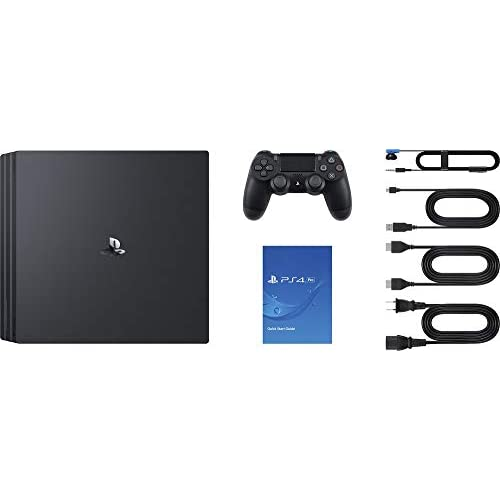 PlayStation 4 Pro Console with A Dual-Shock Controller and HDMI Cable, Stream 4K Video Capable for up to 4 Players- Jet Black