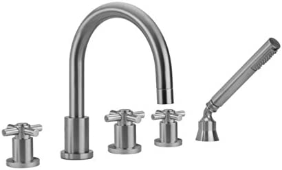 Peg Handles and Straight Handshower Jaclo 9980-T638-S-456-TRIM-PCU Contempo Roman Bathtub Filler with Lever Polished Copper