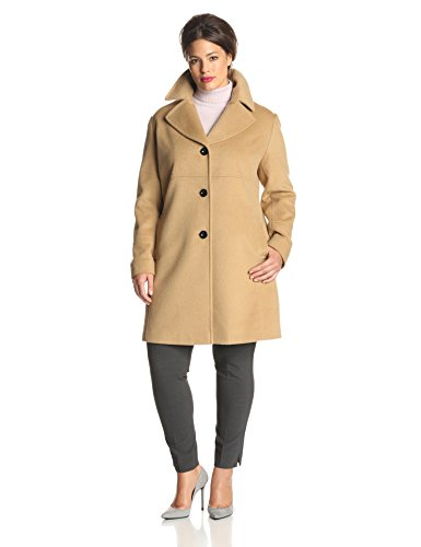 Larry Levine Women's Plus-Size Classic Single Breasted Notch Collar Wool Coat, Camel, 3X