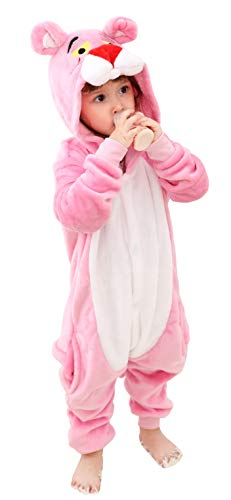 Olyc Unisex Kids Hooded Animal Onesie Supersoft Flannel Costume Pajamas Fancy Dress Playsuit Jumpsuit Pink Panther 110 -