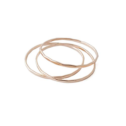 - HONEYCAT Super Skinny Hammered Stacking Rings Trio Set in Gold, Rose Gold, or Silver | Minimalist, Delicate Jewelry (Hammered/RG/9)