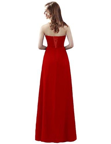 Chiffon Elegant Damen Trägerlos Maxi Kleider Lang Grau Brautjungfernkleider LuckyShe qaEwAnvpw