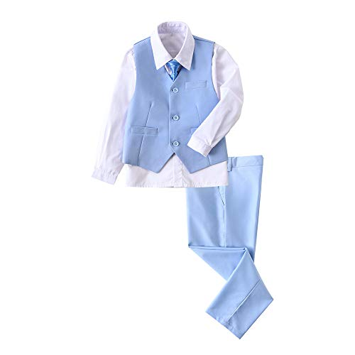 (YuanLu Boys Suits Youth's Vest Set with Pants Dress Shirt and Tie Light Blue Size 7)