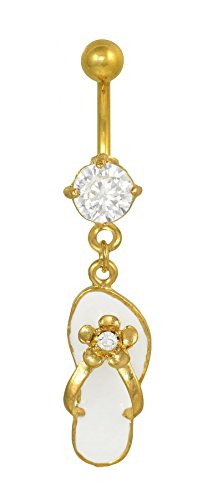 (Crystal Clear Cubic Zirconia 24K gold plated Flip Flop w/ Flower Sandle dangle belly button navel ring 14 gauge)