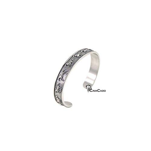 Cavacado - Bracelet argent rigide 11 chevaux