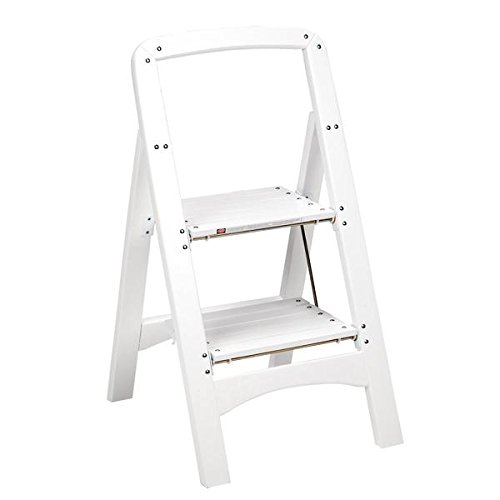 Cosco White Two Step Rockford Wood Step Stool Ladders,225-Lb Weight Capacity (Cosco Two Step Wood)