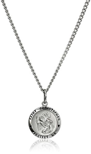Stainless Steel Chain With Sterling Silver Saint Christopher Pendant  18