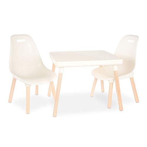 B. spaces by Battat B. Toys - Kids Furniture Set - 1 Craft Table & 2 Kids Chairs with Natural Wooden Legs (Ivory)