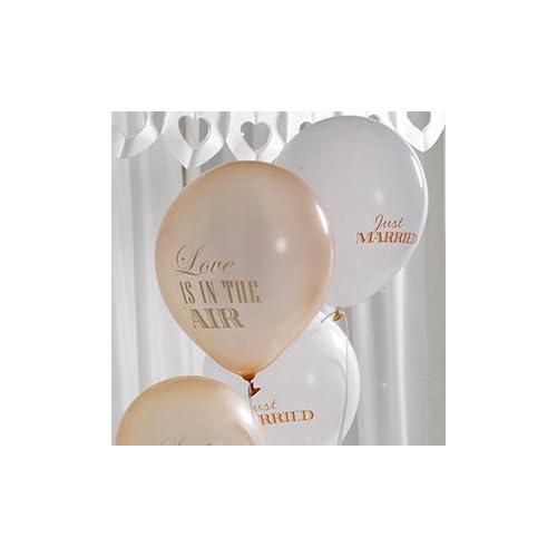"""Ballons avec l'inscription """"Just Married"""" & """"Love Is In The Air dans Crème & Or–Contenu 8Ballons par paquet–déco originale pour votre mariage"""