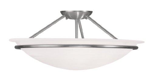 Livex Lighting 4825-91 Newburgh 3-Light Ceiling Mount, Brushed Nickel