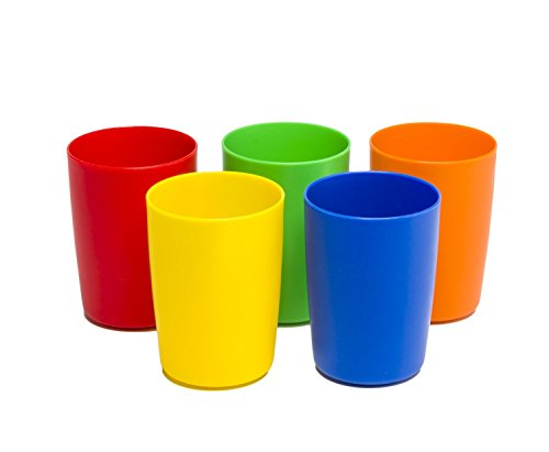 - Greenco Set of 5 Unbreakable Reusable Plastic Kids Cups, Assorted Colors, 5 oz.